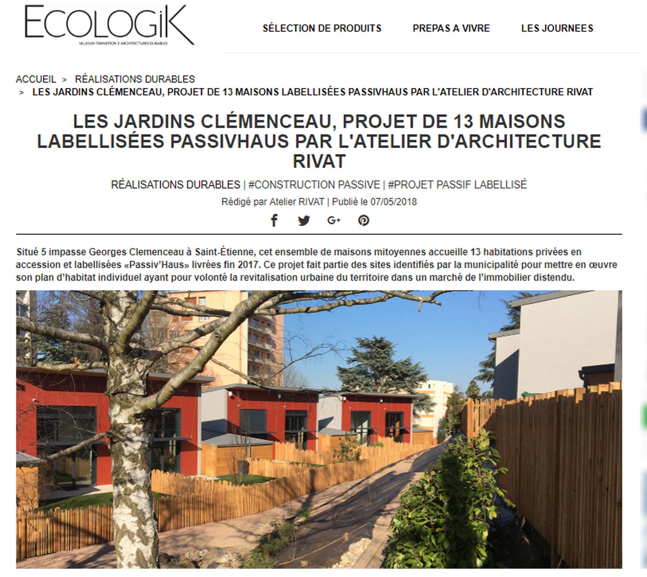 Notre réalisation de 13 maisons labellisées passivhaus a fait l'objet d'un article dans le magazine ECOLOGIK