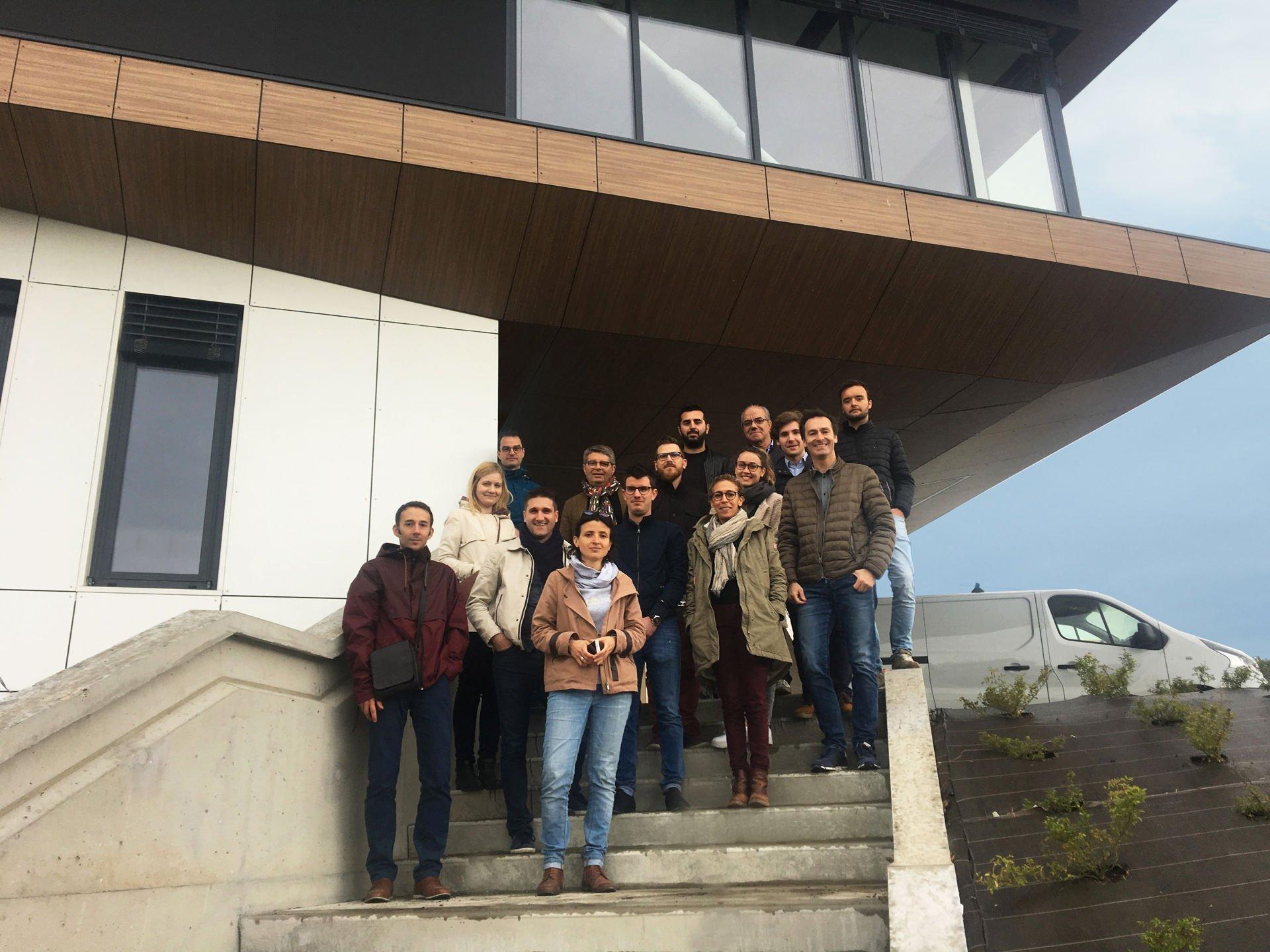 Visite de chantier avec une partie de l'agence sur notre construction d'un centre de dialyse Passivhaus à Saint Priest en Jarez