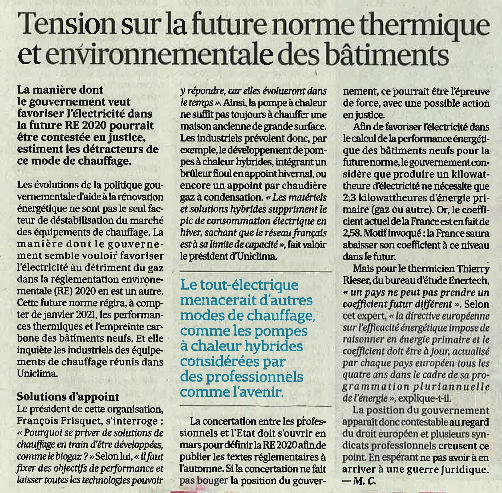 ARTICLES LES ECHOS : Le chauffage & la future norme thermique et environnementale des bâtiments