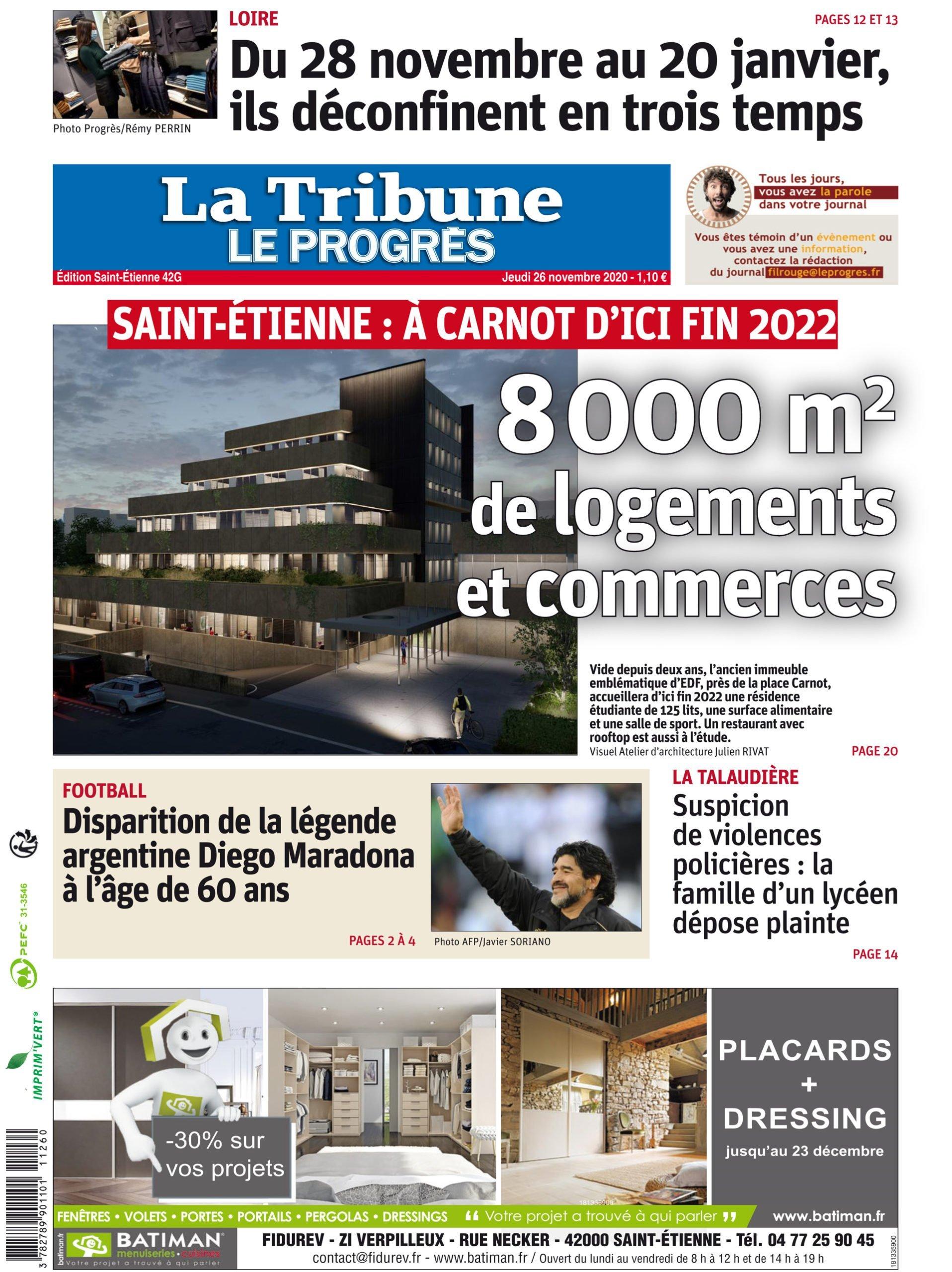 ARTICLE LE PROGRES : Carnot, 8000 m² de logements et de commerces à la place d'EDF