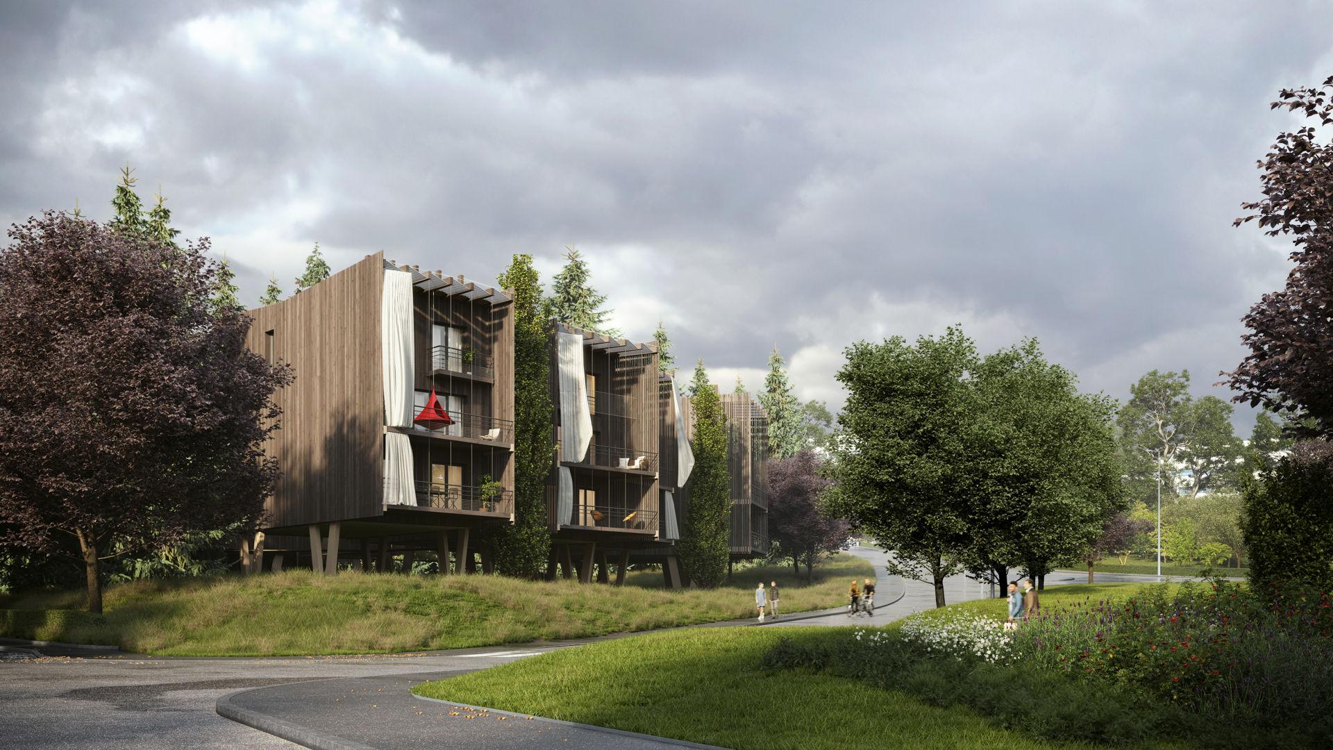 ARTICLE LE PROGRES : Des habitations sur pilotis près du parc de l'Europe fin 2022